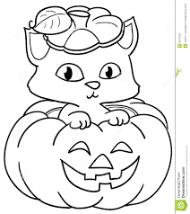 pumpkin and cute cat coloring royalty free stock photo image