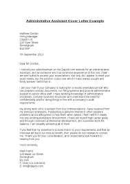 Cover Letter Administrative Assistant Template Administrative Assistant Cover Letter Sless Free Writing