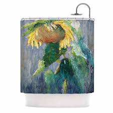 Sunflower Yellow Curtains by Kess Inhouse Carol Schiff Lonely Sunflower Yellow Nature Shower