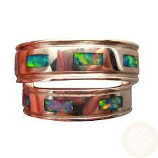 Opal Wedding Ring Sets by Silver Opal Rings Matching For Two Flashopal