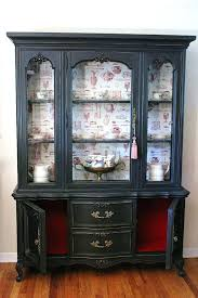 Antique Black Cabinets China Hutch And Buffet Vintage Cabinet With