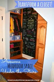 turn a closet into an awesome mudroom space with a fun chalk wall