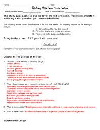 biology midterm review sheet
