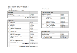ms excel income statement editable printable template excel