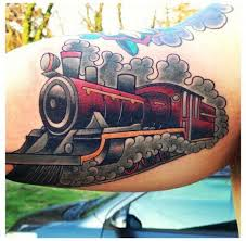 old train tattoo by blood sweat tears