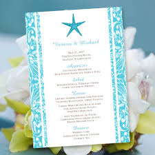 printable wedding menu template beach starfish