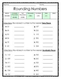 rounding numbers to the tens and hundreds places 1 page subject