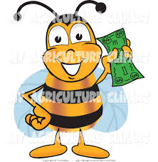 vector cartoon agriculture clipart of a wealthy bumble bee mascot