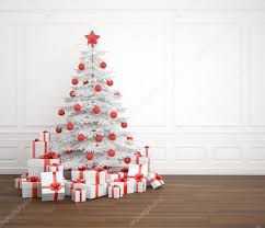 white and red christmas tree in empty room u2014 stock photo