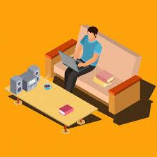 table ordinateur portable canapé homme à l aide d ordinateur portable sur le canapé à la maison