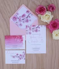 cherry blossom wedding invitations cherry blossom wedding invitation painted with watercolors