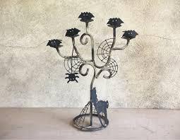 super rustic vintage halloween candle holder candelabra black cat