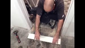 How To Install A Doorway Marble Threshold   BASEMENT DIY - Bathroom door threshold 2