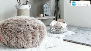 white fluffy bean bagliving concept luxury lush soft alpaca faux