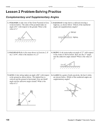 Worksheet On Complementary And Supplementary Angles Hw Complementarry Supplementary Angles Problem