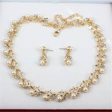 pearl necklace costume images Classic imitation pearl necklace gold jewelry set for women clear jpg