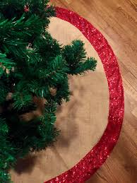 christmas tree skirt burlap and gold or red sequence christmas