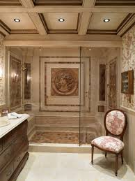 european style walk in shower with classic vanity and unique wall