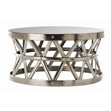 Overstock Round Coffee Table - overstock com hammered drum cross silver coffee table drum