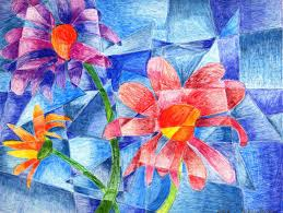 cubism flower painting cubism flower student work ed colored pencils