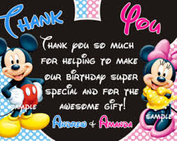 mickey mouse thank you cards mickey thank you etsy