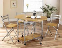 clear varnished pine wood collapsible dining table with grey metal
