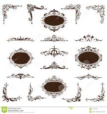 vintage corners and stickers with ornament stock vector image