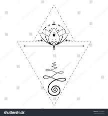 lotus tattoo unalome sacred geometry symbol stock vector 735222883