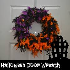 feathered halloween door wreath diy building our story
