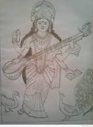 pencil for painting lord saraswati pencil shades pictures goddess paintings
