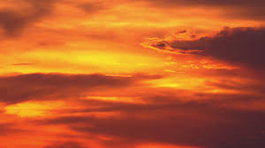 orange sunset beautiful sky illuminated by last beams of setting