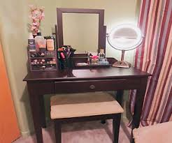 Wood Vanity Table This Wooden Finish Vanity Set Can Be Cool Gift For Any