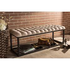 Vintage Ottoman by Baxton Studio Zephyr Tufted Coffee Table Ottoman Bench With Black