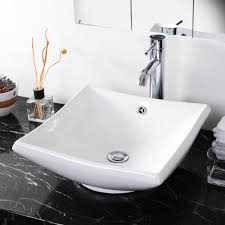 bathroom ceramic porcelain vessel sink w overflow white basin pop