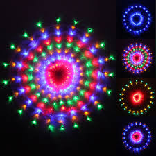 160 multi colour led chasing circular web window curtain net