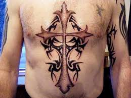 cool tribal cross tattoos chest cross ideas for