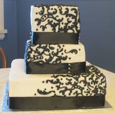 wedding cake layer 3 tier white and black with black satin wedding cake rexburg cakes