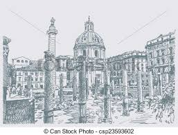 vector clipart of sketch hand drawing of rome italy famous