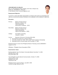 Sample Nursing Student Resume Clinical Experience by Simple Nursing Sample In Filipino With Pna Philippine Nurses