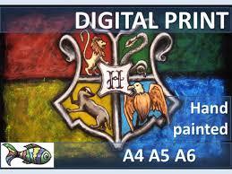 printable art business harry potter emblem hogwarts the coat of arms hand painted art