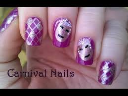 carnival nail art freehand purple nails design youtube