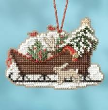 Jim Shore Christmas Sleigh With Ornaments by Mill Hill Woodland Sleigh Counted Cross Stitch Ornament Kit By