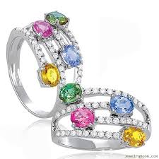 coloured gemstones rings images Multi color rings diamond multi color sapphire wrapped jpg