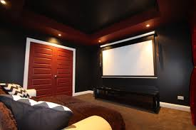 interior good looking dark blue home theater room feature modern