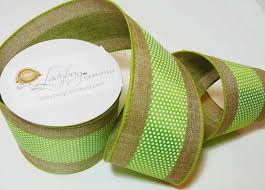 burlap wired ribbon burlap wired ribbon white dots on green stripe green and