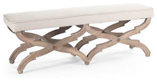 Benches At End Of Bed by French Country Limed Gray Oak Long Dining End Of Bed Bench