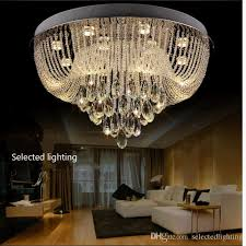 round 40w led ceiling light fixture l bedroom kitchen modern crystal chandelier flush mount ceiling light rain drop