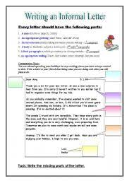 english worksheet informal friendly letter writing
