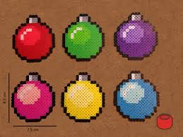 christmas bauble pixel bit art ornaments and magnets made from