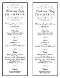 menu templates for weddings wedding menu template